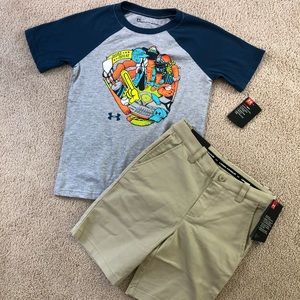 Size 7 under armour shorts & T-shirt's NWT